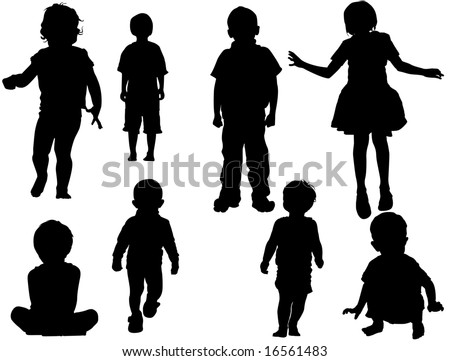 kids vector silhouette - stock photo