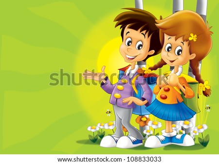 Kids walking together - nice illustration for children - happiness - fun - free time - leisure - stock photo