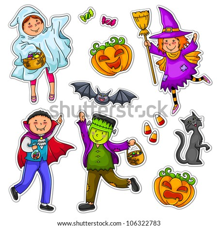 kids wearing Halloween costumes (vector version is available in my portfolio) - stock photo