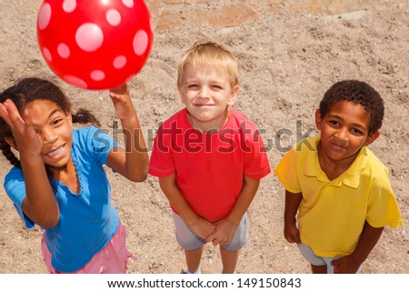 Kids with a ball - stock photo