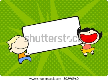 Kids with a tag (raster version) - stock photo