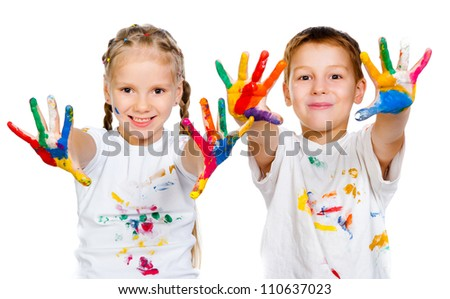 kids with �¢??�¢??hands in paint  on a white background - stock photo