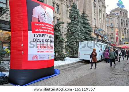 KIEV - MAR 21: pneumonia test scanning with mobile x-rays radiography car in Kiev, Ukraine on March 21, 2013. Stop tuberculosis in Ukraine healthcare program provided by Rinat Akhmetov Fund. - stock photo
