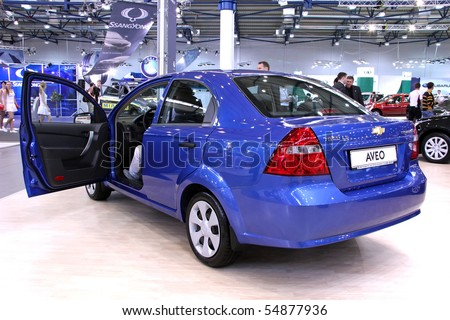 "KIEV - MAY 27: Annual automotive-show ""SIA 2010"". May 27, 2010 in Kiev, Ukraine. Chevrolet Aveo - stock photo"