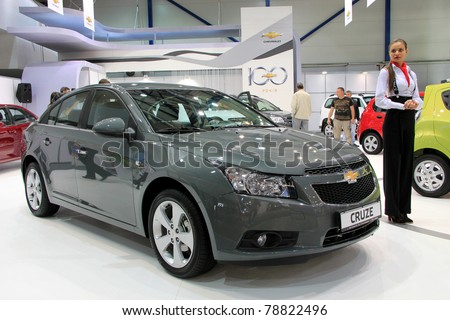 """KIEV - MAY 26: Chevrolet Cruse at yearly automotive-show """"SIA 2011"""". May 26, 2011 in Kiev, Ukraine. - stock photo"""