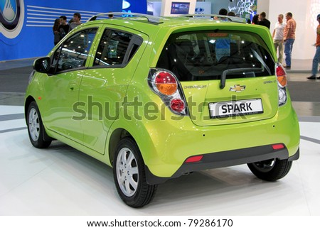 """KIEV - MAY 26: Chevrolet Spark at yearly automotive-show """"SIA 2011"""". May 26, 2011 in Kiev, Ukraine. - stock photo"""