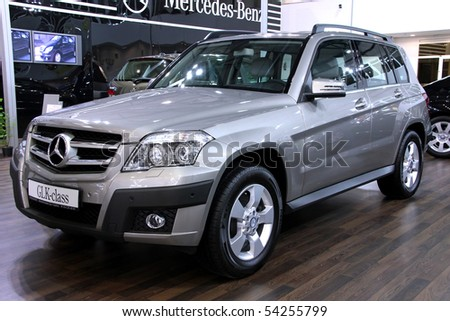 "KIEV - MAY 27: Mercedes-Benz GLK-class on display at Annual automotive-show ""SIA 2010"" May 27, 2010 in Kiev, Ukraine. - stock photo"