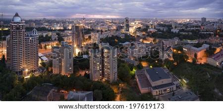 Kiev panorama at night - stock photo