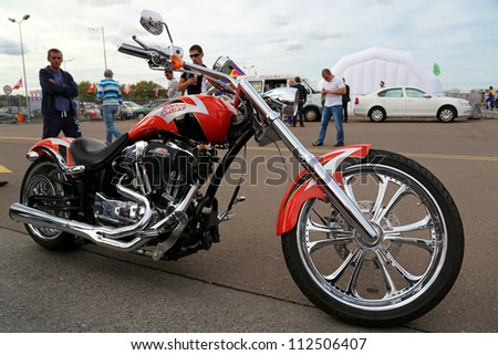 "KIEV - SEPTEMBER 7: Harley Davidson Screaming Eagle at yearly automotive-show ""Capital auto show 2012"". September 7, 2012 in Kiev, Ukraine - stock photo"