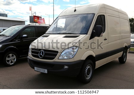 "KIEV - SEPTEMBER 7: Mercedes-Benz Sprinter at yearly automotive-show ""Capital auto show 2012"". September 7, 2012 in Kiev, Ukraine - stock photo"