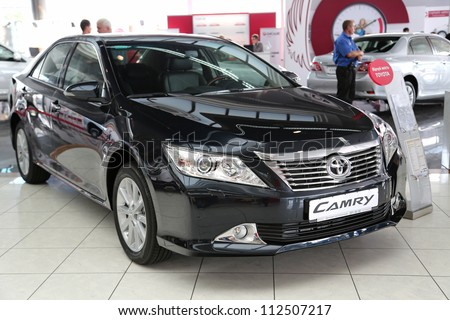 "KIEV - SEPTEMBER 7: Toyota Camry at yearly automotive-show ""Capital auto show 2012"". September 7, 2012 in Kiev, Ukraine - stock photo"