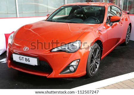 "KIEV - SEPTEMBER 7: Toyota GT 86 at yearly automotive-show ""Capital auto show 2012"". September 7, 2012 in Kiev, Ukraine - stock photo"