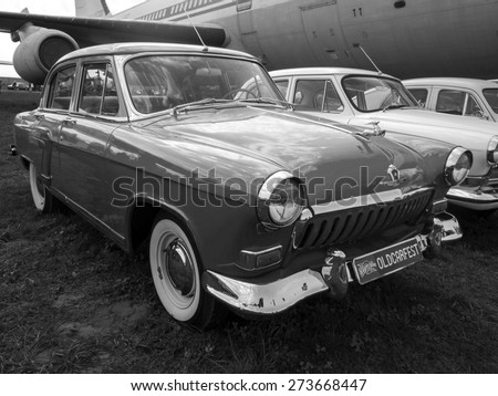 KIEV, UKRAINE - April 25, 2015: Car ''Volga'' GAZ-21 -- The Retro OldCarFest is the biggest retro cars festival held in Kiev, and covers the State Aviation Museum grounds.  - stock photo