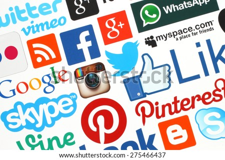 KIEV, UKRAINE - APRIL 28, 2015:Collection of popular social media logos printed on paper:Facebook, Twitter, Google Plus, Instagram, Skype, WhatsApp, Pinterest, Blogger and others on white background - stock photo