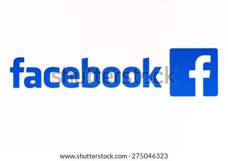 KIEV, UKRAINE - APRIL 23, 2015: Facebook like logo for e-business, web sites, mobile applications, banners on pc screen.  Social network facebook sign on pc sign. - stock photo
