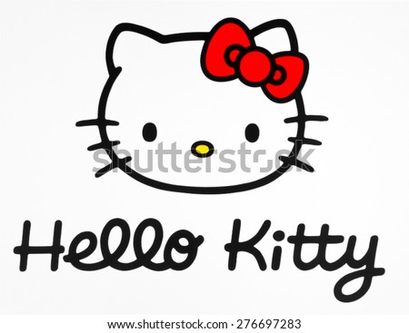 KIEV, UKRAINE - APRIL 21, 2015: Hello Kitty on pc screen. Hello Kitty is a cartoon character produced by the Japanese company Sanrio, Illustrative editorial. - stock photo
