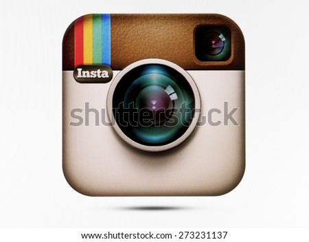 KIEV, UKRAINE - APRIL 23, 2015:Instagram logotype camera on pc screen. Instagram - free application for sharing photos and videos with the elements of a social network. - stock photo