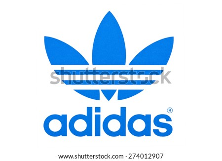 KIEV, UKRAINE - APRIL 29, 2015:  Logo of  brand Adidas  printed on paper and placed on white background.  Adidas - German industrial group specializing in the production of athletic footwear, apparel. - stock photo