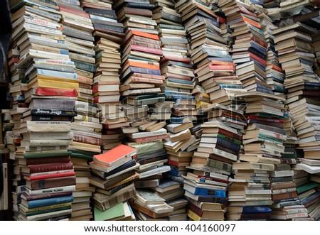 Kiev, Ukraine, April 10, 2016. Secondhand bookseller shop - stock photo