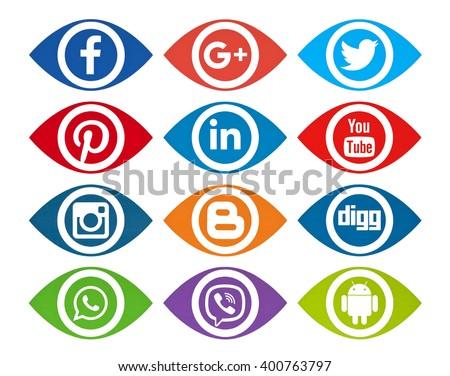 Kiev, Ukraine - April 04, 2016: Set of most popular social media icons: Twitter, Pinterest, Instagram, Facebook, Blogger, WhatsApp,Viber,  Linkedin, Youtube, and others printed on paper. - stock photo