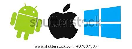 Kiev, Ukraine - April 14, 2016: Set of top brand operating system logos, printed on paper. - stock photo