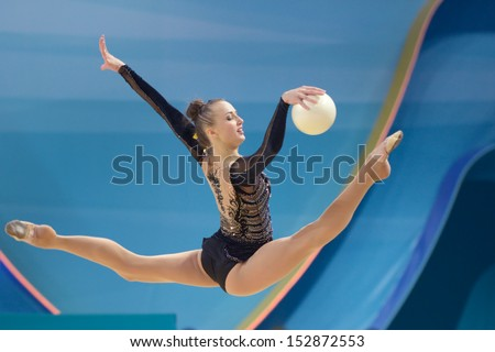 KIEV, UKRAINE - AUGUST 28: Ganna Rizatdinova of Ukraine in action during the 32nd Rhythmic Gymnastics World Championships in Kiev, Ukraine on August 28, 2013 - stock photo