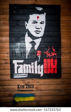 KIEV, UKRAINE, DEC 11, 2013: poster in the center of Kiev, on Maydan Nezalejnosti - stock photo