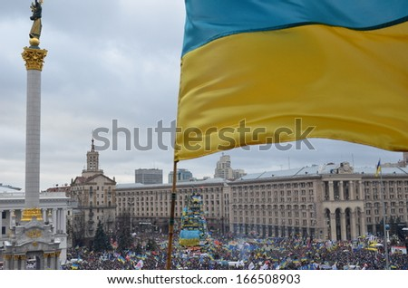 KIEV, UKRAINE - DECEMBER 08 2013: Continuous mass protest against the policy of the Ukrainian government and President took place in KIEV, UKRAINE on DECEMBER 08 2013. - stock photo