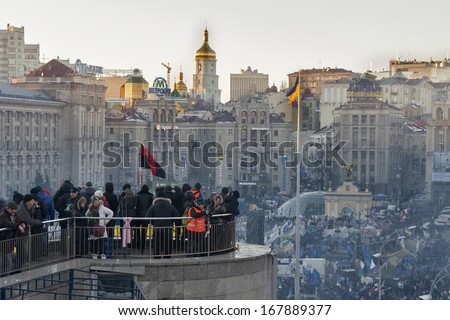 KIEV, UKRAINE - DECEMBER 14: Demonstrators protest on Independence Square EuroMaidan during peaceful actions against the Ukrainian president and government on December 14, 2013 in Kiev, Ukraine. - stock photo