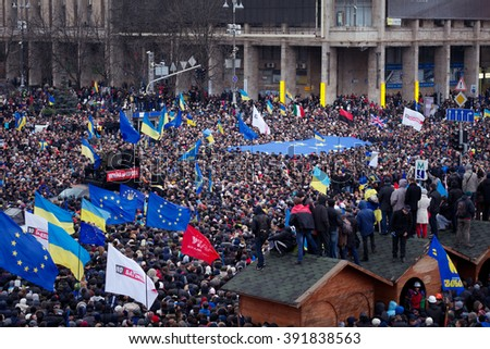 KIEV, UKRAINE December 01, 2013: Mass protest on Maydan (Square) Nezalezhnosti in Kyiv. The revolution in Ukraine - stock photo