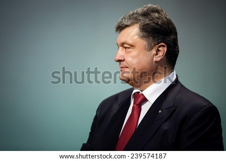 KIEV, UKRAINE - DECEMBER 22, 2014: President of Ukraine Petro Poroshenko during the traditional New Year's reception for the diplomatic heads of diplomatic missions of foreign states in Kiev - stock photo