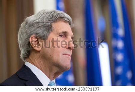 KIEV, UKRAINE - Feb 5, 2015: US Secretary of State John Kerry during a joint press conference with President of Ukraine Petro Poroshenko in Kiev - stock photo