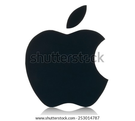 KIEV, UKRAINE - FEBRUARY 05, 2015:Apple logotype printed on paper.Apple is an American multinational corporation, that designs, develops, and sells consumer electronics and personal computers. - stock photo