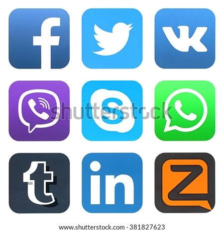 KIEV, UKRAINE - FEBRUARY 23, 2016: Collection of popular social media logos printed on paper: Facebook, Twitter, VKontakte, Viber, Skype, WhatsApp, Tumblr, LinkedIn, and Zello - stock photo