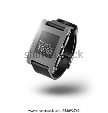Kiev, Ukraine - February 13, 2015: Photo of Pebble smartwatch isolated on white. Product shot - stock photo