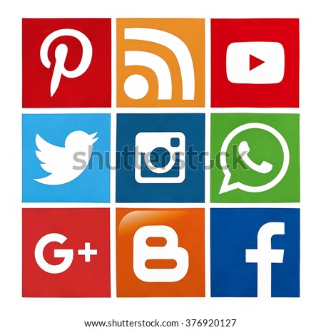 Kiev; Ukraine - February 15; 2016: Set of most popular social media icons: Twitter; Youtube; Pinterest; Instagram; Facebook; Google Plus; Blogger; WhatsApp and others printed on paper. - stock photo
