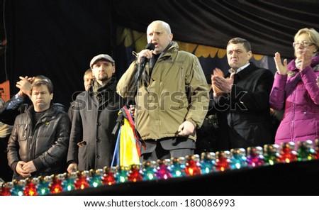 KIEV, UKRAINE -Â?Â? 26 FEBRUARY 2013: The head of Ukrainian government Olexander Turchinov and ministers speak on the meeting on February 26, 2013 in Kiev, Ukraine. - stock photo