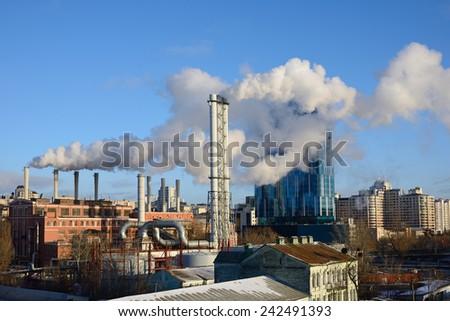KIEV, UKRAINE - January 7, 2015: Cold in Kiev. Heat station warms city center. - stock photo