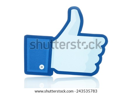 KIEV, UKRAINE - JANUARY 10, 2015: Facebook thumbs up sign printed on paper and placed on white background. Facebook is a well-known social networking service. - stock photo