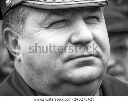 KIEV, UKRAINE - January 29, 2015: Minister of Defence of Ukraine Stepan Poltorak. -- Ukrainian politicinas attended the ceremony Kruty Heroesentered into an battle with Bolsheviks - stock photo