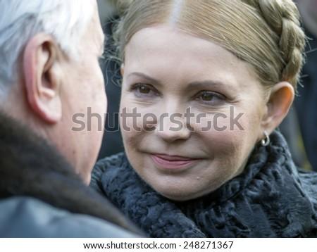 KIEV, UKRAINE - January 29, 2015: Yulia Tymoshenko and former Ukrainian president Leonid Kravchuk. Ukrainian politicinas attended the ceremony Kruty Heroes - stock photo