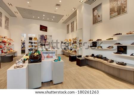 KIEV, UKRAINE - JULY 7: A lot of women shoes in Minelli shop, on a
