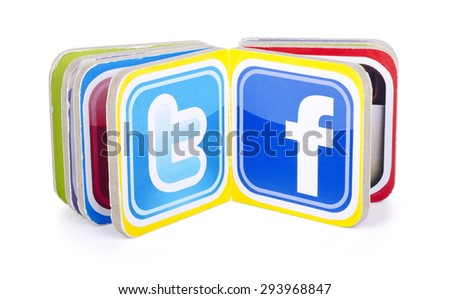 KIEV, UKRAINE - JULY  05, 2015: Book with popular social media  logos Facebook, Twitter. - stock photo
