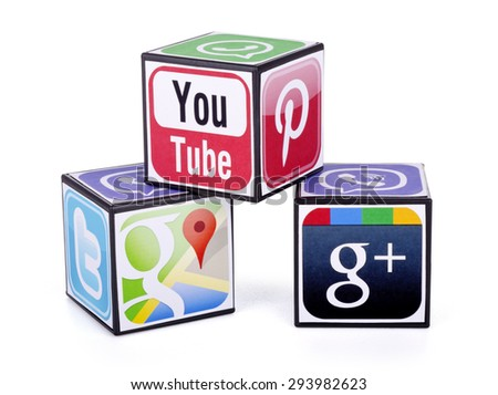 KIEV, UKRAINE - JULY 05, 2015: Cubes with logotypes of social media: Twitter, Google Plus,  Pinterest, Viber,  Youtube, Google map, WhatsApp. - stock photo