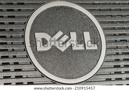 KIEV, UKRAINE - JULY 14, 2014: Dell logotype closeup back side of flat digital monitor. Dell Inc. is an American multinational computer technology company that develops, sells and repairs computers. - stock photo