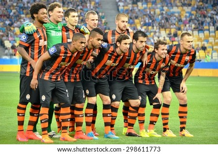 KIEV, UKRAINE - JUN 4: General Team Photo FC Shakhtar during the final match Cup of Ukraine between Shakhtar vs Dynamo Kiev, 4 June 2015, NSC Olympic Stadium, Kiev, Ukraine - stock photo