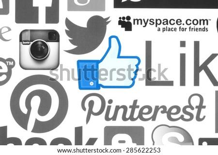 KIEV, UKRAINE - June 08, 2015:Collection of popular social media logos printed on paper:Facebook, Twitter, Instagram, Skype, Pinterest and others on white background.  - stock photo