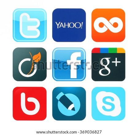 KIEV, UKRAINE - June 12, 2015:Collection of popular social media logos printed on paper:Facebook, Twitter, Google Plus, Twoo, Bebo, Viadeo, Yahoo, Skype and Livejournal - stock photo