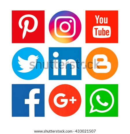 Kiev, Ukraine - June 04, 2016: Set of most popular social media icons: Facebook, Twitter, Youtube, Pinterest, Instagram, WhatsApp, Blogger, Google Plus and others  printed on paper. - stock photo