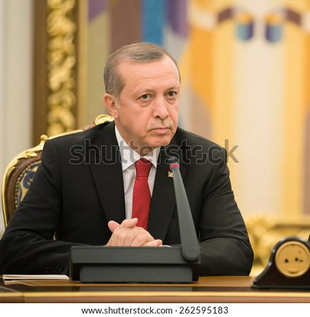 KIEV, UKRAINE - Mar. 20, 2015: Turkish President Recep Tayyip Erdogan and President of Ukraine Petro Poroshenko during a meeting in Kiev - stock photo